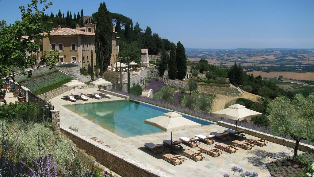 Castiglion Del Bosco, pool deck, view of area