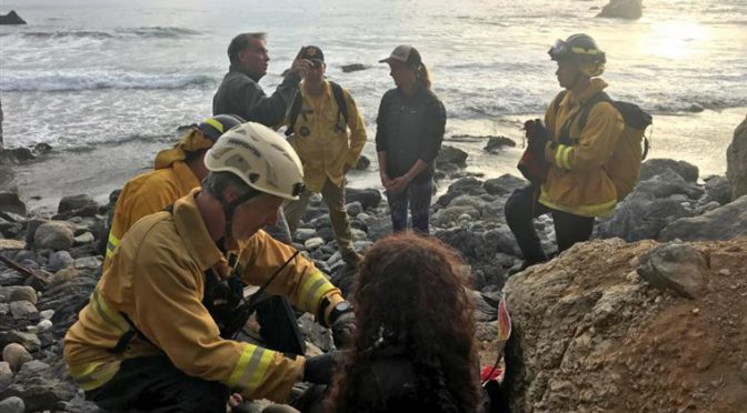 Oregon woman survives week on remote beach after plunge off California cliff