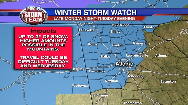 Winter Storm Watch Issued For Metro Atlanta And Northern Georgia