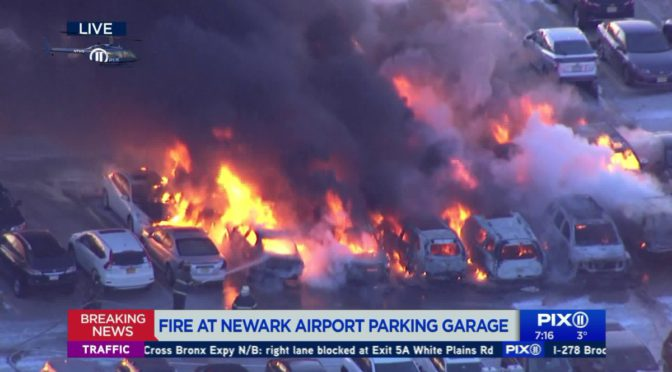 Fire Torches More Than a Dozen Vehicles At Newark Airport Parking Deck