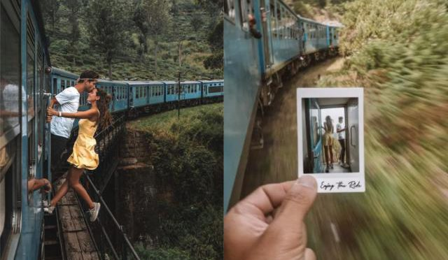 Travel bloggers slammed for 'irresponsible' kiss photo taken while they're hanging out of a moving train