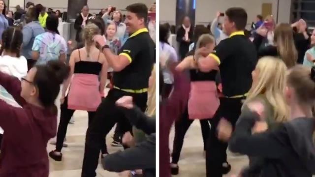 Video of Spirit Airlines employee dancing with cheerleaders during flight delay goes viral