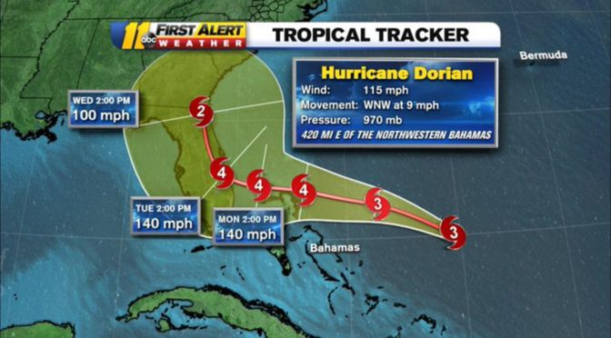 Hurricane Dorian gains fury but might skirt Florida coast