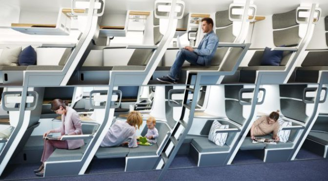 New double-decker style seat design on planes could let all passengers lie flat