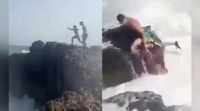 Wife Films as Husband, Friend Are Swept to Sea After Cliff-Diving Goes Wrong